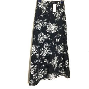 Banana Republic Floral Maxi Skirt Black White 0P